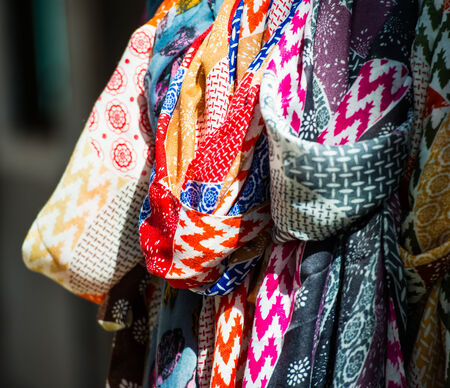 towels luxury: colorful textile are sold in the bazaar Stock Photo