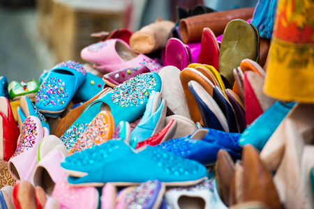 terrycloth: colorful slippers are sold in the bazaar Stock Photo