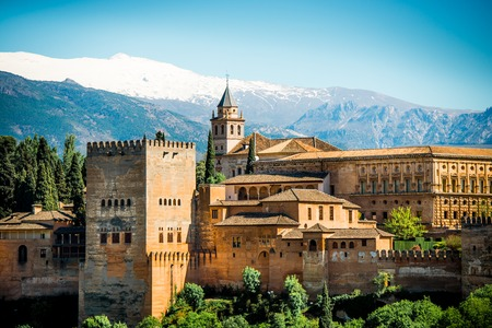 fortress: View of the famous Alhambra, Granada, Spain  Stock Photo