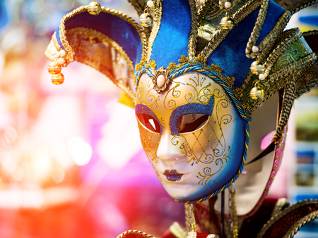 pierrot: Colorful Venetian carnival mask for sale Stock Photo