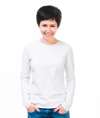 Young beautiful woman with blank white long sleeve shirt. Ready for your design or logo