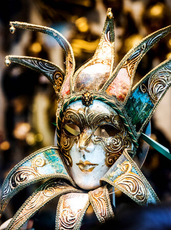 pierrot: Traditional carnival mask close-up, Venice Stock Photo