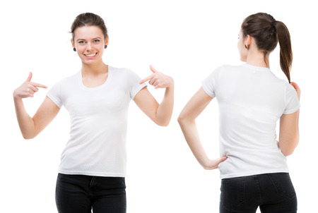 Girl in a white T-shirt isolated on white background, front and back 스톡 콘텐츠