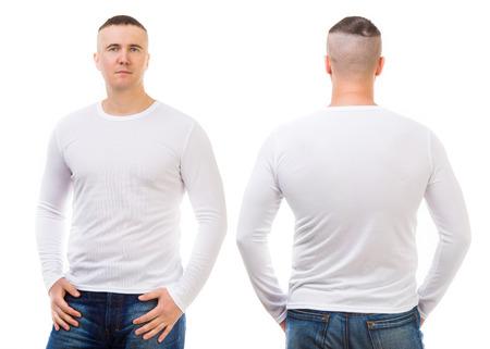 playeras: Hombre joven en una camiseta blanca aislada en fondo blanco, delante y detr�s Foto de archivo