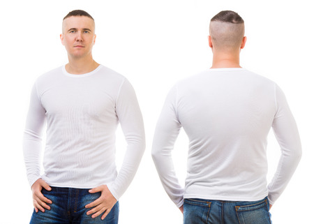 long sleeves: Young man in a white T-shirt isolated on white background, front and back