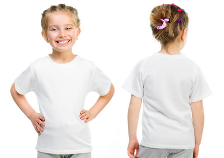 t shirt model: Little girl in a white T-shirt isolated on white background, front and back Stock Photo