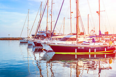 cove: Boats and yachts in port Stock Photo