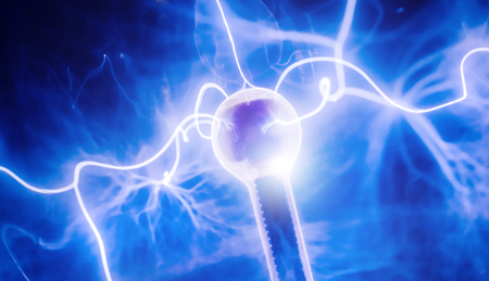 electric charge: Intense electrical discharge and shine on a dark background