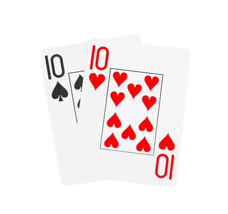 poker hand: playing cards isolated on a white background