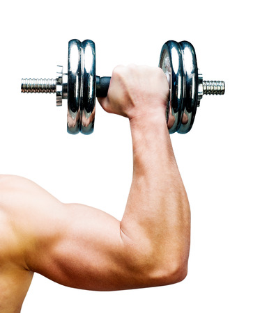 Arm attractive athletic man with dumbbells  isolated on a white background