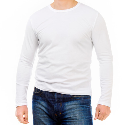 shirt sleeves: young man in a white shirt with long sleeves