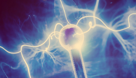 electrocute: Intense electrical discharge and shine on a dark background
