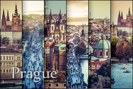 praha: collage photos with  beautiful view of the old town of Charles Bridge and Prague Castle, Czech Republic