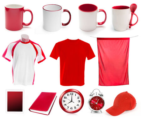 screen print: collage of red objects for corporate style isolated