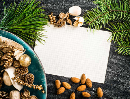 white sheet of paper on a christmas background photo