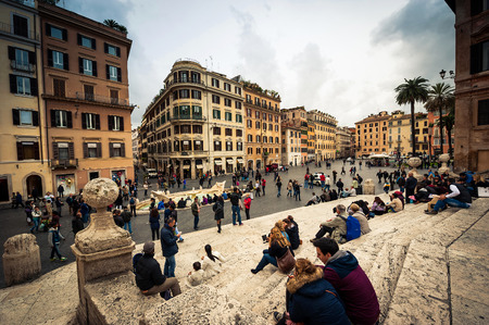 monti: Rome, Italy - November 17, 2014: Piazza di Spagna, is one of the most famous squares of Rome. It owes its name to the palace of Spain, Embassy of the Iberian is here Editorial