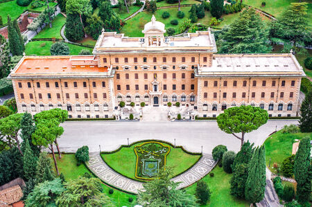 upper: Aerial view of Vatican Garden and building, Rome