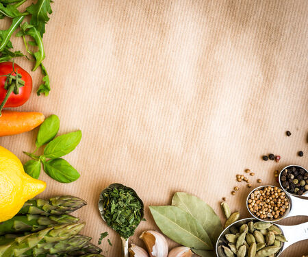 dried food: Fresh vegetables on a brown background Stock Photo