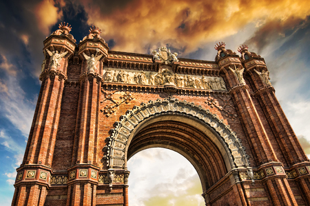 Triumphal Arch of Barcelona against sky photo