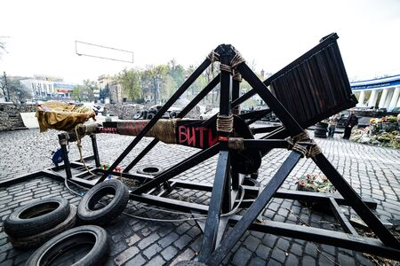 KIiev, Ukraine - April 14, 2014: Streets and barricades in the city center after the revolution in Kiev, Ukraine Editorial