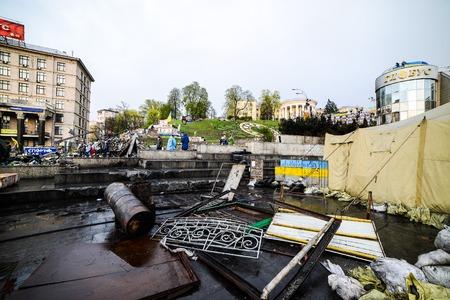 maidan: KIiev, Ukraine - April 14, 2014: Streets and barricades in the city center after the revolution in Kiev, Ukraine Editorial