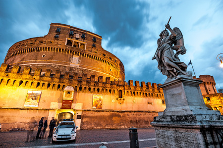 angelo: Rome, Italy - November 17, 2014: The Mausoleum of Hadrian, usually known as Castel SantAngelo  is one of the main tourist attractions in Rome.