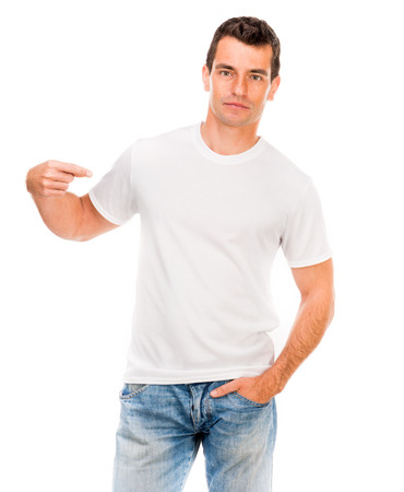 t shirt model: white t-shirt on a young man isolated Stock Photo
