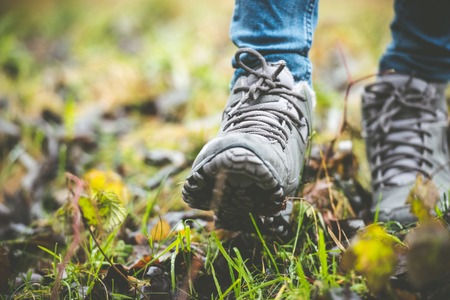 walking trail: feet in shoes on a forest path Stock Photo