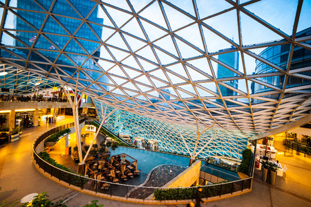 outlet store: Warsaw, Poland - November 01, 2014: Shopping center Golden Terraces one of the most popular and visited shopping centers in Warsaw.