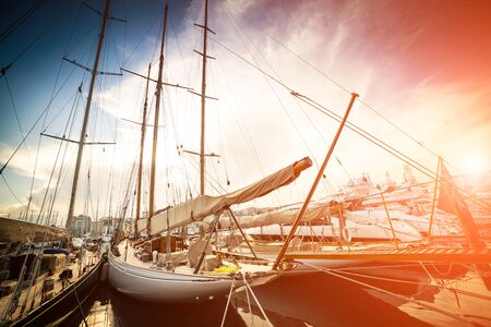 motorboats: Beautiful marina view, sailboats and motorboats in port Stock Photo