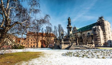 krakowskie przedmiescie: Warsaw, Poland - Fabruary 01, 2015:  Monument of the most famous Polish poet - Adam Mickiewicz at Krakowskie Przedmiescie Street in Warsaw, Poland Editorial