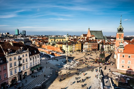 king street: Castle Square with kings Sigismunds Column in Warsaw, Poland Editorial