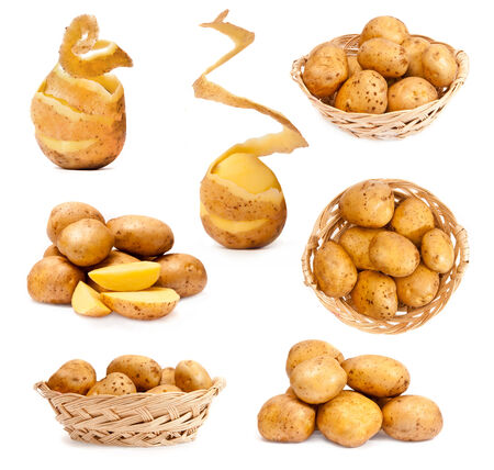 patatas: foto collage de patatas aisladas sobre fondo blanco