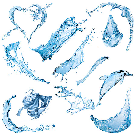 Spray and splashes of water isolated on a white background