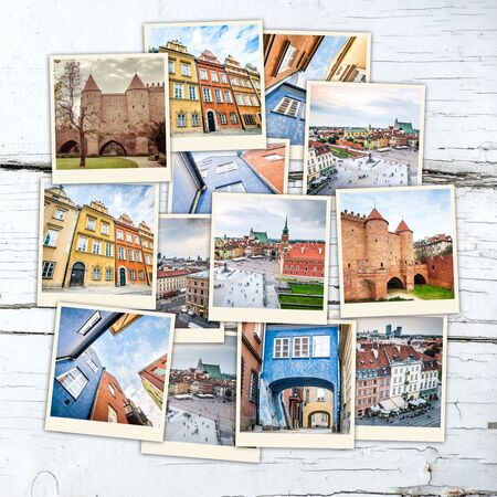 beautifu: collage of sights and beautiful views of Warsaw  on wooden table Stock Photo
