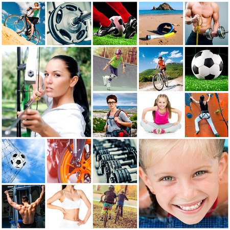 collage of athletes and sports equipment Banco de Imagens