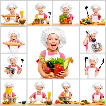 jolie petite fille: collage de petite fille mignonne dans le chapeau chefs avec des fruits et légumes dans la cuisine préparer un repas sur un fond blanc