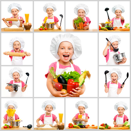 little: collage of little cute girl in chefs hat with fruit and vegetables in the kitchen preparing a meal on a white background