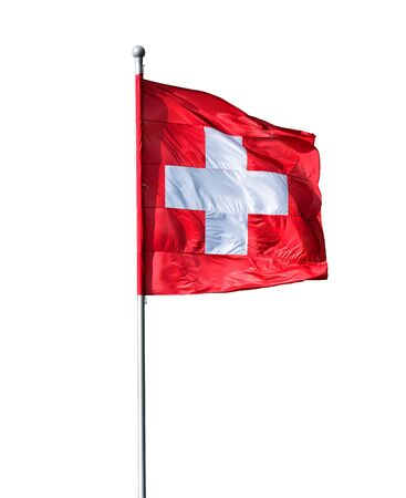 swiss insignia: Swiss flag isolated on a white background