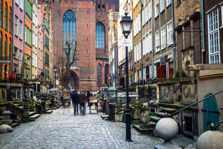 notable: Gdansk, Poland - March 14, 2014: Architecture of Mariacka street in Gdansk is one of the most notable tourist attractions in Gdansk.