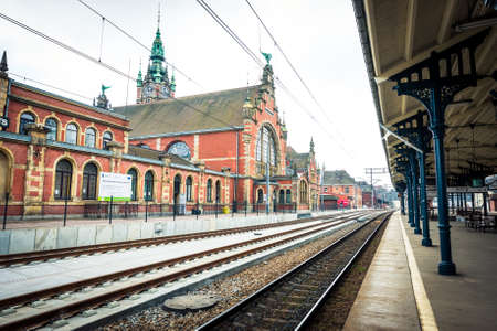 Gdansk, Poland - March 16, 2014: Historic railway station in Gdansk, Poland.