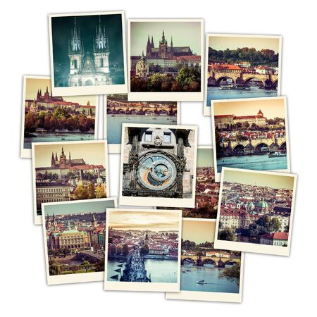 sights: collage of sights and beautiful views of Prague Editorial
