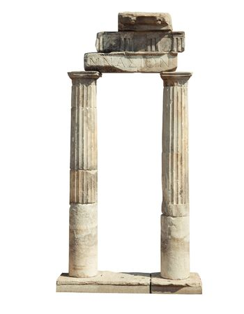 hierapolis: Old famous ruins in Hierapolis isolated on white background