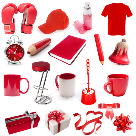 different isolated objects red color on a white background photo