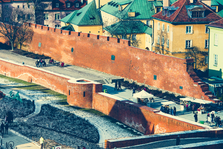 semicircular: beautiful view of the center of Warsaw, Castle Square and the Barbakan