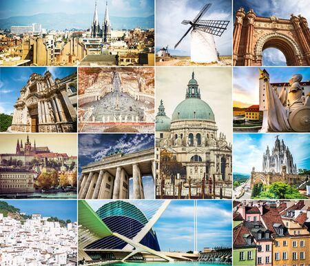 a window on the world: photo collage of architecture of ancient cities of the world