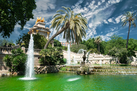 Beautiful view fountain at the zoo of Barcelona photo