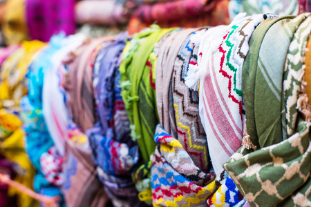 souk: traditional Arab scarves in the market