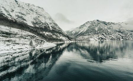 Beautiful mountain landscape with the Norwegian fjords in winter photo