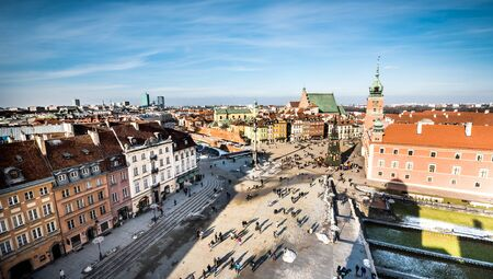 houses street: Castle Square with kings Sigismunds Column in Warsaw, Poland Editorial